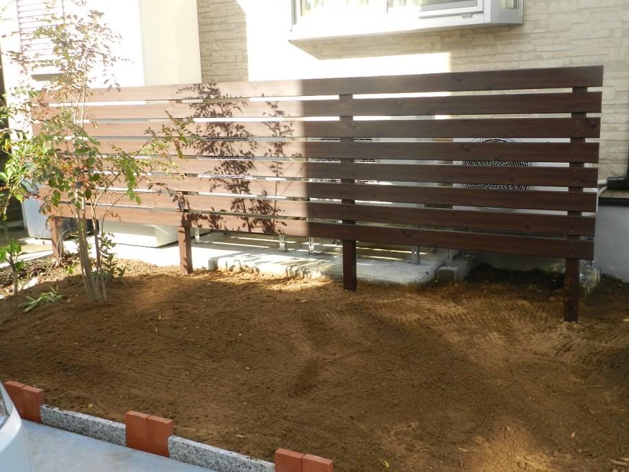 フェンスで室外機の風から樹木を守る┃高岡市