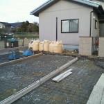 土間コンクリート下地作り